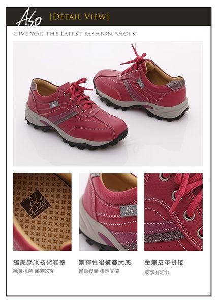 A.S.O 前彈性後避震 牛軟皮綁帶奈米休閒鞋 粉紅