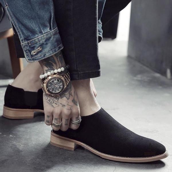 內增高男鞋反絨真皮休閒皮鞋尖頭復古英倫【愛物及屋】