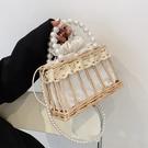 珍珠手提包包女夏天2021新款潮時尚藤編斜挎小方包百搭草編沙灘包格蘭小舖