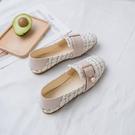 低跟鞋 小香風鞋子女2020年新款春夏單鞋百搭網紅珍珠平底豆豆鞋女
