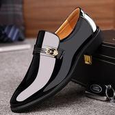 男皮鞋 正裝皮鞋 秋冬男士商務男套腳英倫婚鞋亮面一腳蹬男鞋商務男鞋子《印象精品》q521