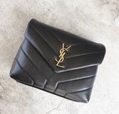 ■專櫃83折■ Saint Laurent YSL全新真品 467072 Mini Lou Lou 金字Logo小羊皮相機包 黑色