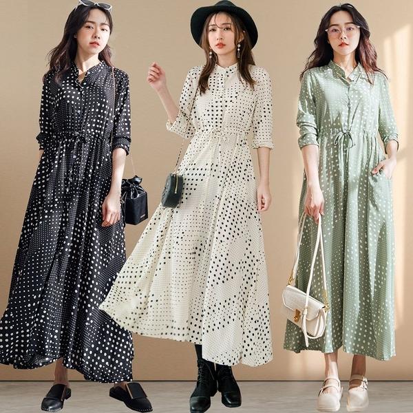 MIUSTAR 復古普普風大小波點排釦綁帶雪紡洋裝(共3色)【NJ0021】預購