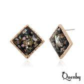 Quenby 925純銀 韓國流行方形貝殼鍍真金款耳環/耳針-黑色