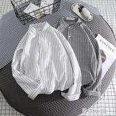 2020新款港風條紋白襯衫男士襯衣長袖休閒寬鬆外套男寸衫韓版潮流 美芭