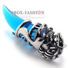 《 QBOX 》FASHION 飾品【C10020636】精緻動物狼頭月牙晶石鑄造鈦鋼墬子項鍊