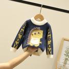 男童毛衣套頭秋冬款嬰兒童水貂絨小童洋氣加絨厚女寶寶春秋針織衫