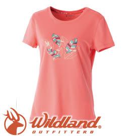 【Wildland 荒野 女款 印花咖啡紗抗UV長版上衣《粉橘》】0A51617/短袖排汗衣/排汗衣★滿額送