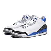 NIKE 籃球鞋 AIR JORDAN 3 RACER BLUE 小閃電 白黑藍 爆裂紋 男(布魯克林) CT8532-145