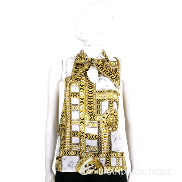 VERSACE 大理石紋印花幾何圖騰無袖緞面上衣 1620423-A5