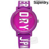 Superdry 極度乾燥 / SYL196VW / 雙色炫彩品牌LOGO矽膠手錶 紫色 38mm