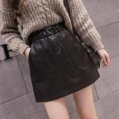 短裙 鬆緊腰黑色皮裙半身裙女秋季新款puA字ins短裙子高腰包臀裙子