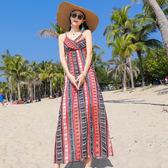 度假洋裝~雪紡印花系帶連衣長裙夏季海邊渡假裙3212#ZLE620紅粉佳人