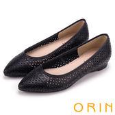 ORIN 微甜女孩 趣味雕花沖孔牛皮平底尖頭鞋-黑色