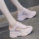 內增高鞋 包頭半拖鞋女外穿2021夏季新款百搭厚底網面一腳蹬內增高老爹涼鞋 小天使