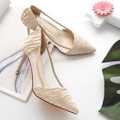 細跟網紗涼鞋女高跟氣質OL單鞋百搭杏色尖頭淺口女鞋  k-shoes