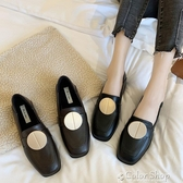 新款韓版金屬圓扣方頭平底小皮鞋女鞋英倫風一腳蹬樂福鞋單鞋 color shop