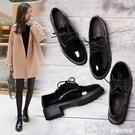 牛津鞋 春秋冬季新款英倫復古風黑色漆皮小皮鞋百搭韓版單鞋女學生平底女鞋新年禮物