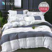 【R.Q.POLO】天絲TENCEL系列 兩用被床包四件組-雙人特大7尺(悠然花意)