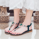 沙灘涼鞋 花朵涼鞋女夏平跟2020新款波西米亞民族風平底百搭度假海邊沙灘鞋 薇薇