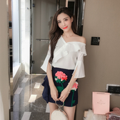 超殺29折 韓國風刺繡花朵氣質甜美修身荷葉邊套裝短袖裙裝