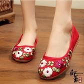 布鞋復古民族風舒適透氣牛筋底女單鞋廣場舞繡花鞋 降價兩天