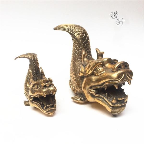 開光純銅螭吻銅器風水擺件 鴟尾鴟吻龍頭魚吻獸滅火消災防火飾品1入