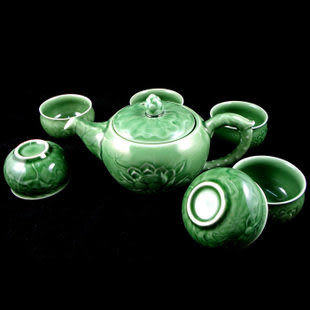 7頭活瓷荷花荷塘月色茶具
