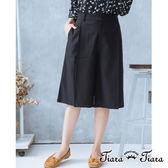 【Tiara Tiara】復古風素面五分寬褲(藍/灰)