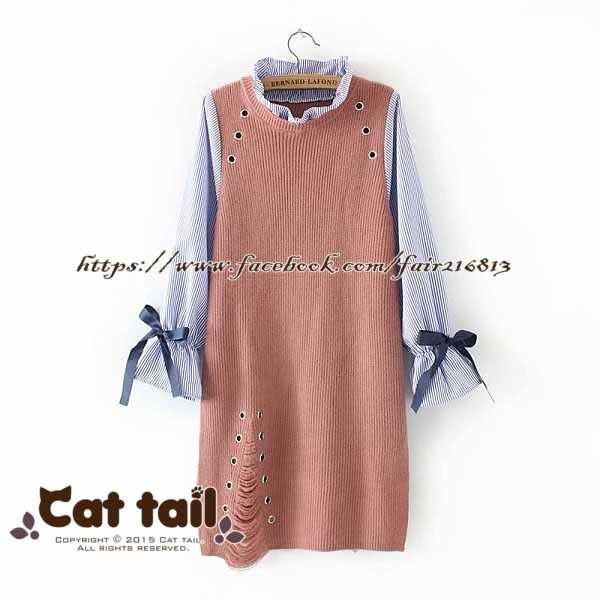 《貓尾巴》TS-01786 學院風假兩件針織長袖連身裙(森林系 日系 棉麻 文青 清新)