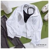 Catworld 立領抽繩拼網紗寬版運動外套【15003718】‧S/M/L