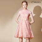 OMUSES 蕾絲刺繡旗袍伴娘婚紗訂製粉色短禮服