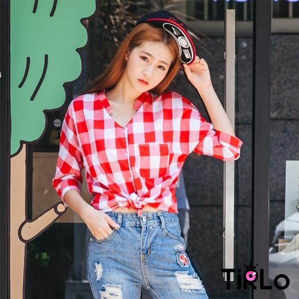 上衣-Tirlo-活力百搭特殊領格紋襯衫-紅白