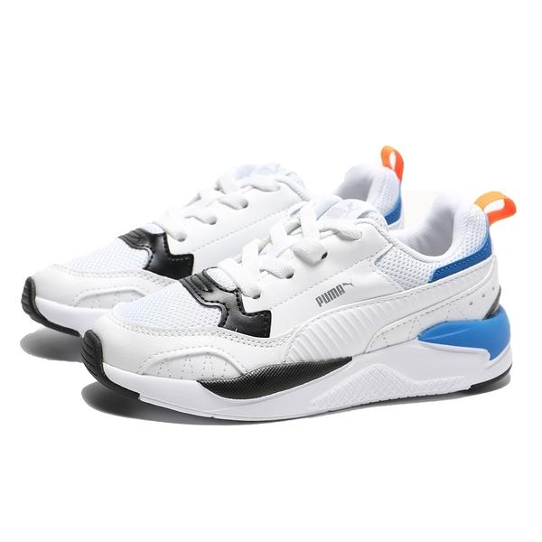 PUMA 休閒鞋 X-RAY 2 SQUARE 白藍橘 網布 休閒鞋 童鞋 中童 (布魯克林) 37419202