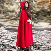 斗篷披肩 大紅色高端氣質圣誕節表演小紅帽毛呢大衣女外套復古披風 DN17812【旅行者】