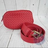 BRAND楓月 Bottega Veneta BV 紅色編織腰包