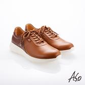 A.S.O 霸足氣墊 綁帶拼色牛皮氣墊休閒鞋 茶