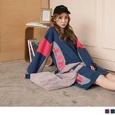 《DA7101-》內刷毛撞色拼接英文字燙印休閒洋裝/長版上衣 OB嚴選