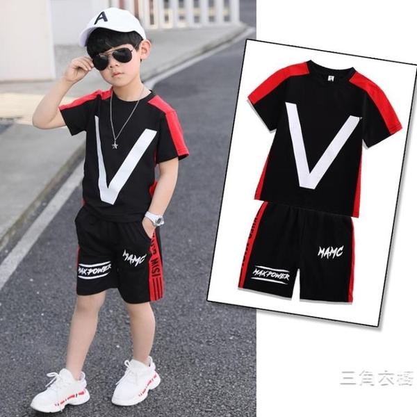 套裝童裝男童夏裝套裝2020新品洋氣兒童夏季短袖男孩帥氣韓版兩件式套裝潮