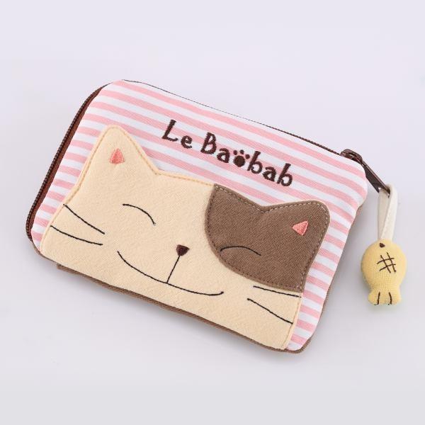 啵啵貓小魚拉鍊卡片零錢包/拼布包包