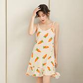 夏季韓國韓國學生吊帶睡裙女短袖甜美可愛中裙睡衣棉質清新裙子家居服 限時八五折 鉅惠兩天