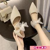 尖頭單鞋女2020春季新款蝴蝶結仙女風中跟粗跟網紅羅馬高跟涼鞋女 源治良品
