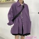 襯衫外套古著ins長袖襯衫女2021新款春秋鹽系很仙的薄款外套小眾紫色上衣 JUST M