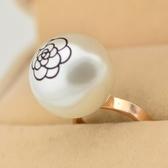 玫瑰金珍珠純銀戒指-精美茶花流行時尚生日情人節禮物女飾品71am72【巴黎精品】