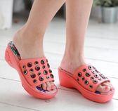 PU底*金屬環飾/軟墊厚底/舒適內裡--THE ONE 手工氣墊鞋(全牛皮)-A08873 櫻紅