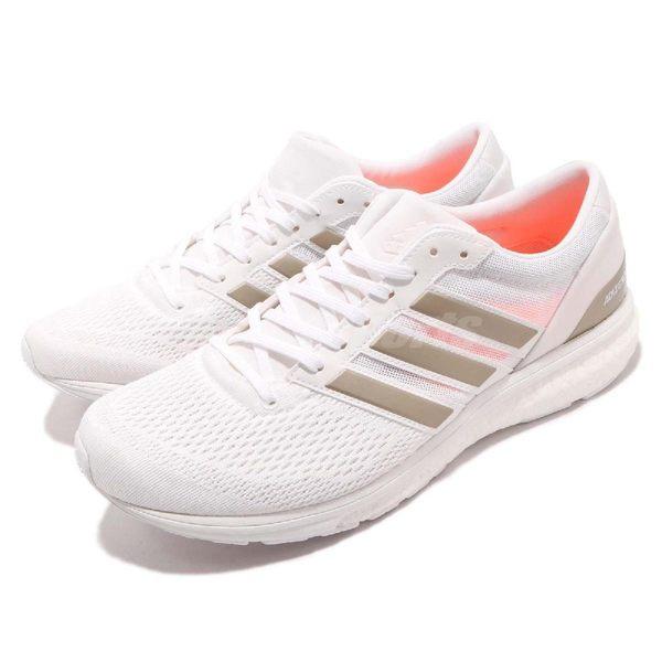 adidas 慢跑鞋 Adizero Boston 6 M 白 灰 BOOST中底 低筒運動鞋 男鞋【PUMP306】 BB6414