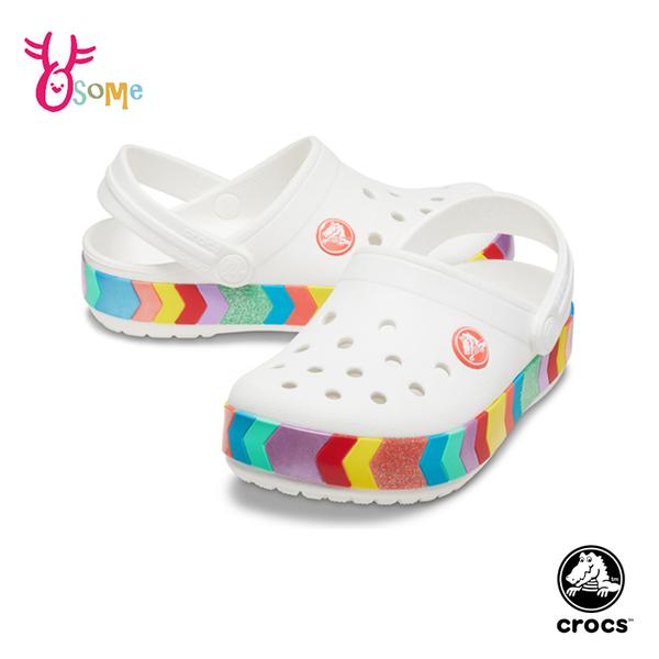 Crocs卡駱馳童鞋 女童洞洞鞋 彩虹條 智必星 園丁鞋 防水布希鞋 涼拖鞋 中大童 A1777#白色◆奧森
