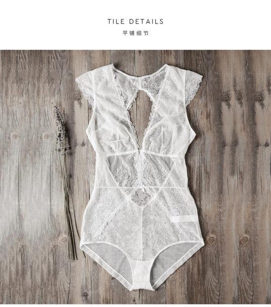 超薄性感蕾絲透明塑身黑色連體衣-12367003