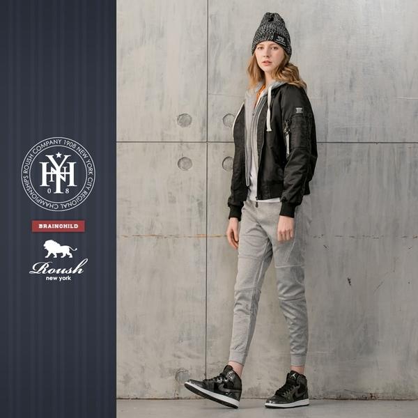 【Roush】 女生MA-1灰色連帽鋪棉飛行外套(帽不可拆) -【715606】