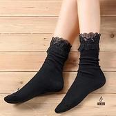 襪子女秋冬日系堆堆襪蕾絲豎條純棉復古百搭公主襪【愛物及屋】